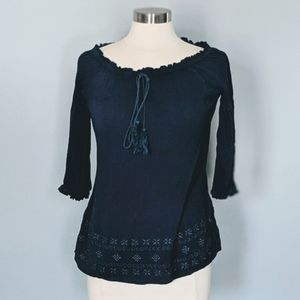 3/$20 Suzanne Betro Navy Embroidered Top